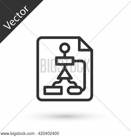 Grey Line Tile Flowchart For Program Design Or Process Management Plan Icon Isolated On White Backgr