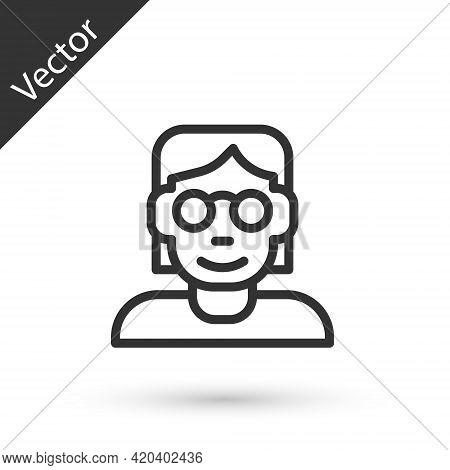 Grey Line Hacker Or Coder Icon Isolated On White Background. Programmer Developer Working On Code, C