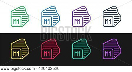 Set Line Processor Icon Isolated On Black And White Background. Cpu, Central Processing Unit, Microc