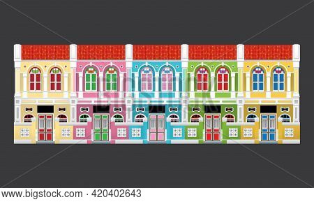 Five Colorful Linked Heritage Shop Houses, With Front Gate. Vector, Isolated With Plain Color Backgr