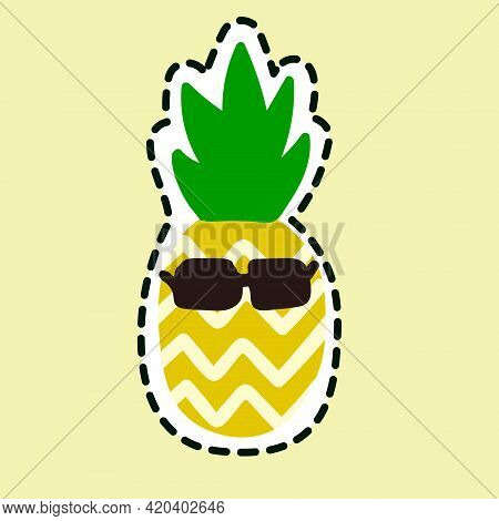 Pineapple In Sunglasses Icon Isolated On Yellow Background