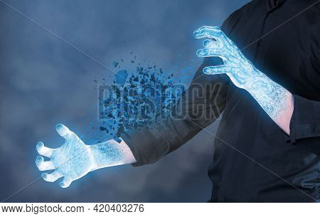 Frozen Hands With Cold Stone Shattering - Concept Of Power