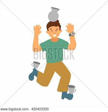 The Boy Keeps Balance And Stands On One Leg. Balance And Play Of The Child. Vector Illustration In F