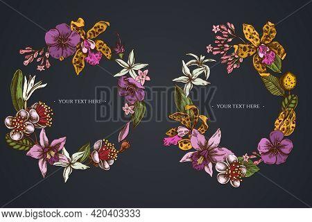 Dark Floral Wreath Of Laelia, Feijoa Flowers, Glory Bush, Papilio Torquatus, Cinchona, Cattleya Acla