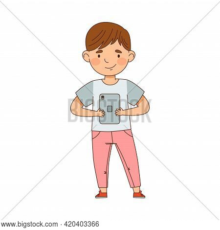 Pretty Little Boy Using Tablet Pc As Electronic Gadget Vector Illustration