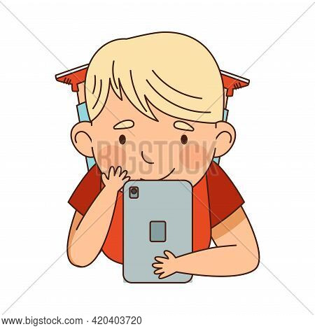 Little Blond Boy Lying With Tablet Pc And Watching Something Vector Illustration