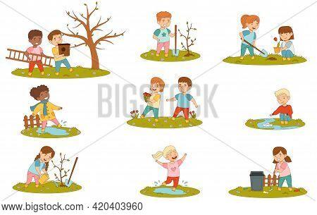 Cheerful Kids Enjoying Spring Season Splashing In Puddle, Planting Tree And Playing With Paper Boat