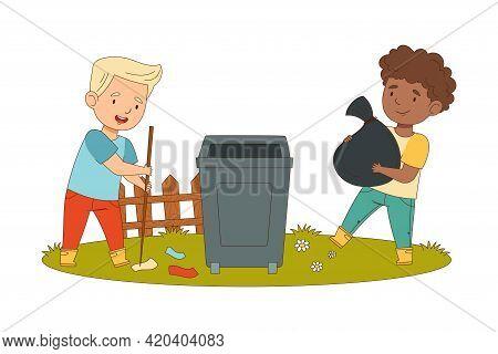 Cheerful Boys Enjoying Spring Season Engaged In Litter Pick Carrying Sack In Trash Bin Vector Illust