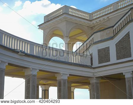Architectural Arched Passages, Galleries, Balconies Against The Sky, Selective Focus