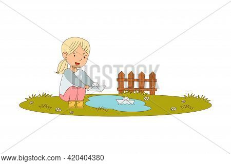 Little Blond Girl Enjoying Spring Season Playing With Paper Boat In Puddle Vector Illustration