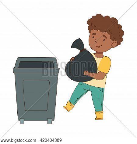 Cheerful Boy Enjoying Spring Season Engaged In Litter Pick Carrying Sack In Trash Bin Vector Illustr