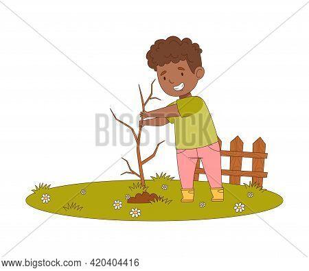 Little Boy Enjoying Spring Season Planting Tree In The Yard Vector Illustration