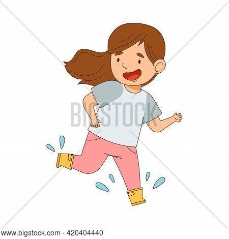 Laughing Girl In Yellow Rubber Boots Enjoying Spring Season Splashing In Puddle Vector Illustration