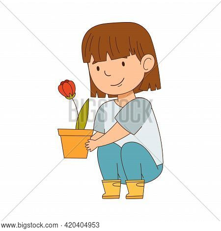 Happy Girl In Rubber Boots With Flowerpot Engaged In Spring Season Activity Vector Illustration