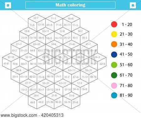 Mathematical Coloring Book For Children. Addition And Subtraction Up To 100. Worksheet. Vector Illus