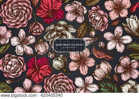 Floral Design On Dark Background With Hibiscus, Plum Flowers, Peach Flowers, Sakura Flowers, Magnoli