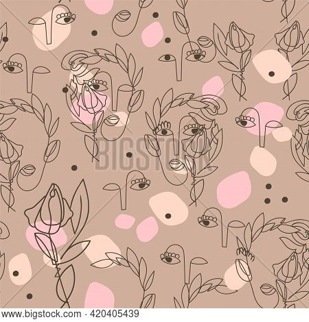 Modern Seamless Pattern With Abstract Outline Of Women Faces In Boho Style Colors. Symbol Spring Blo