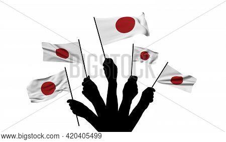 Japan National Flag Being Waved. 3d Rendering