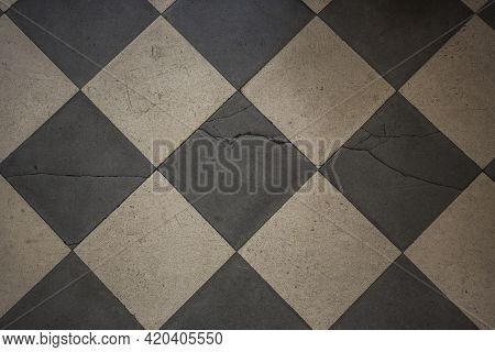 Vintage Earthenware Floor Tiles From 20s In Black And White. Abstract Texture Or Background, Graphic