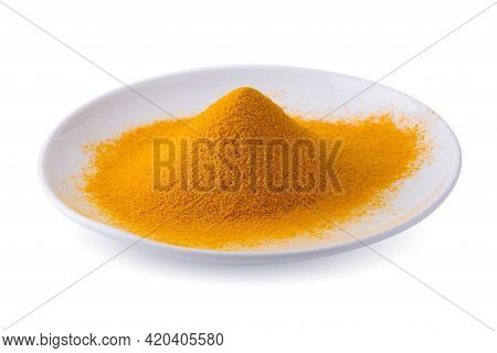 Dry Turmeric Organic Herbal Or Turmeric Powder Spice Pile In A White Bowl Isolated On White Backgrou