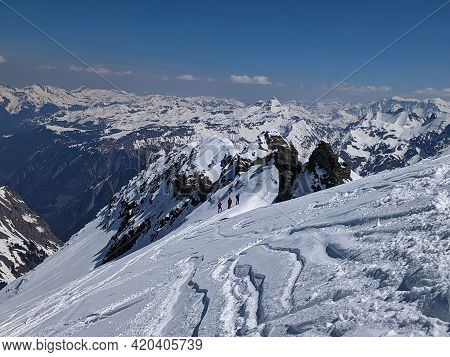 Ski Tour In The Swiss Mountains With A Fantastic View Of The Snowy Mountains. Urnerboden Piz Russein