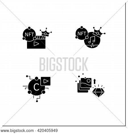 Nft Glyph Icons Set.non Fungible Tokens Music, Video Clips, Cryptomedia, Digital Art.unique Digital