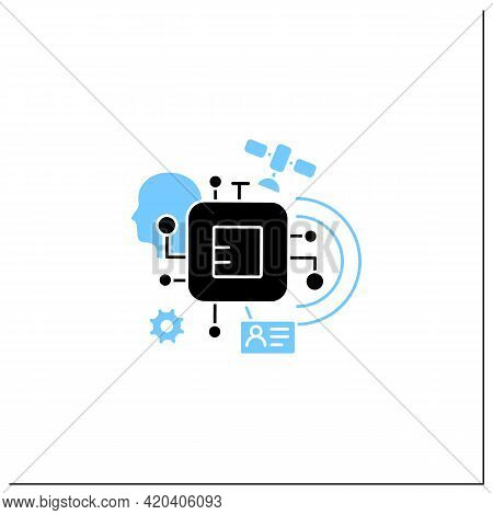 Chipization Glyph Icon. Embedded In Persons Body. Modern Technology. Small Information Disk.digital