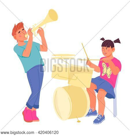 Children Playing Musical Instruments, Flat Vector Illustration Isolated On White Background. Boy Pla