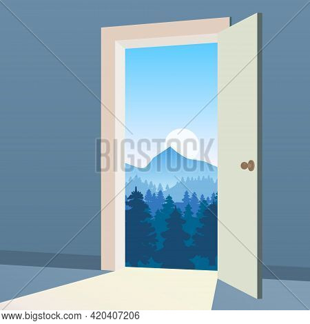 Open Door To Nature Way. Landscape Valley Forest, Mountaines, Symbol Freedom, New Way Exit, Discover
