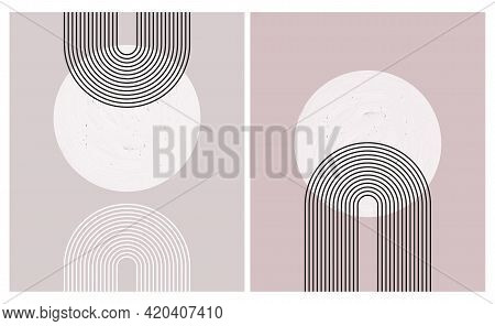 Simple Modern Hand Drawn Vector Art With White Circle And Black Arcs On A Pale Dusty Pink Backround.