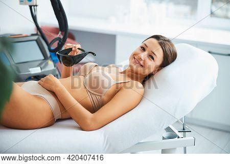 Joyous Pretty Lady Anticipating A Cosmetic Procedure