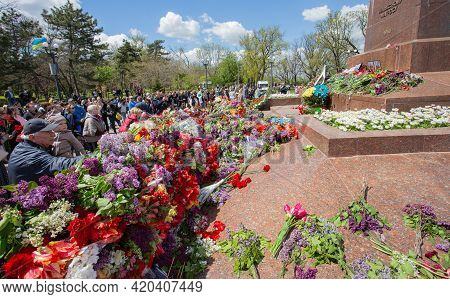 Odessa, Ukraine - May 9, 2021: Memorial Of Unknown Sailor Of Eternal Flame To Defenders Of Fatherlan