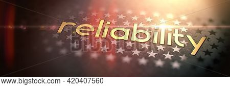 Reliability - Luxury Gold Word On Blurred Dark Background With Stars. Shiny Golden Text In Rays And