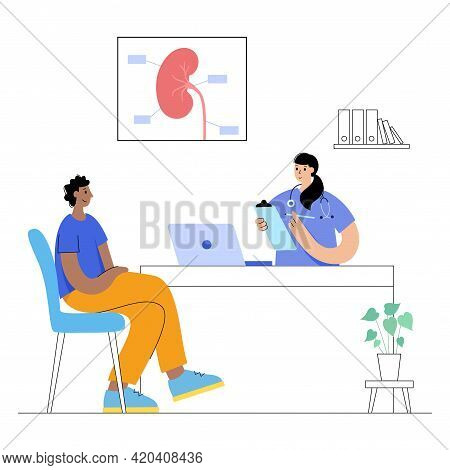 Pain Or Inflammation In Kidney. Medical Appointment With A Doctor. Cancer, Tumor Or Disease In The U