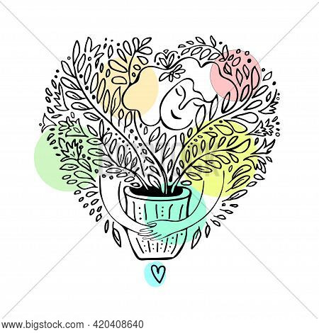 Women Hugging Favorite Houseplants. Black Outline Sketch With Colored Spotted Isolated On White. Con