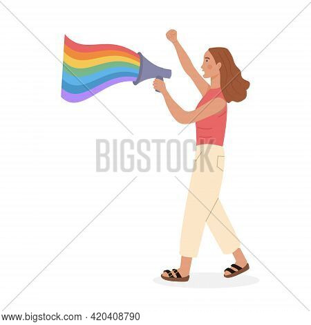 Lgtb Activist Holding Megaphone Or Loudspeaker With Rainbow Colors At Pride Parade. Lesbian Queer Gi