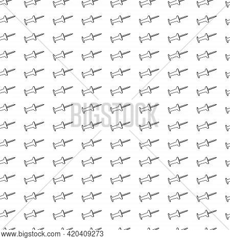 Simple School Texture. Seamless Pattern With Push Pins. White Background, Black Drawing Of School Su