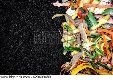 Biodegradable Kitchen Waste On Soil. Composting Organic Food Leftovers. Copy Space
