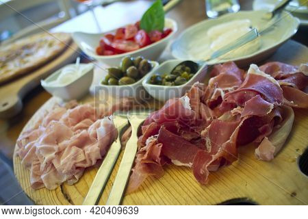 Tuscan Antipasto Chopping Board With Ham And Olives
