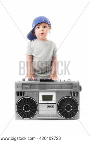 Baby Boy Enjoying Retro Boombox Radio And Hip Hop Style