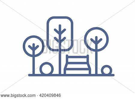 Icon Of Park With Trees And Bench In Line Art Style. Lineart Landscape With Plants And Resting Area.