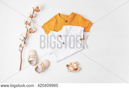 Gender Neutral Baby Garment And Accessories. Organic Cotton Clothes, Newborn Fashion
