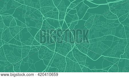 Cyan Green Birmingham City Area Vector Background Map, Streets And Water Cartography Illustration. W