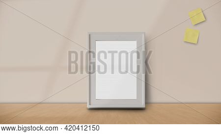 Frame Or Poster Mock Up In Living Room And With Postit With Window Shadow On Pastel Wall Background