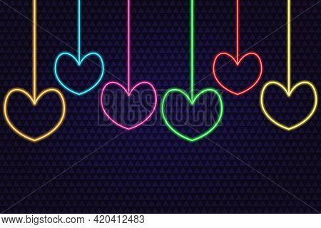 Set Of Colorful Hearts. Neon Glow. Colored Vector Illustration. Isolated Background Of Purple Triang