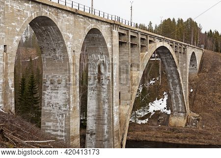 Umea, Norrland Sweden - May 1, 2021: An Old Abandoned Railway Bridge In Stone