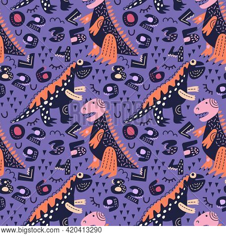 Vector Illustration. Dinosaurs Seamless Pattern. Tyrannosaurus And Spinosaurus On Royal Purple Backg
