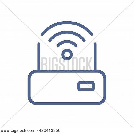Simple Lineart Icon Of Router With Good Solid Wifi Signal. Wireless Internet Connection Sign. Modem