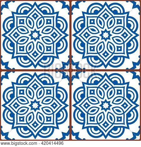 Moroccan Mandala Tile Seamless Vector Pattern In Blue On White Background, Gometric Ornamental Texti
