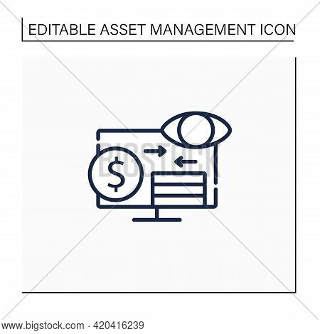Assets Monitoring Line Icon.monitoring Accounts. Logs Information About Tangible Assets On Laptop.bu